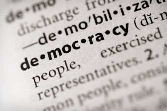 "Selective focus on the word ""democracy"". Many more word photos for you in my portfolio..."
